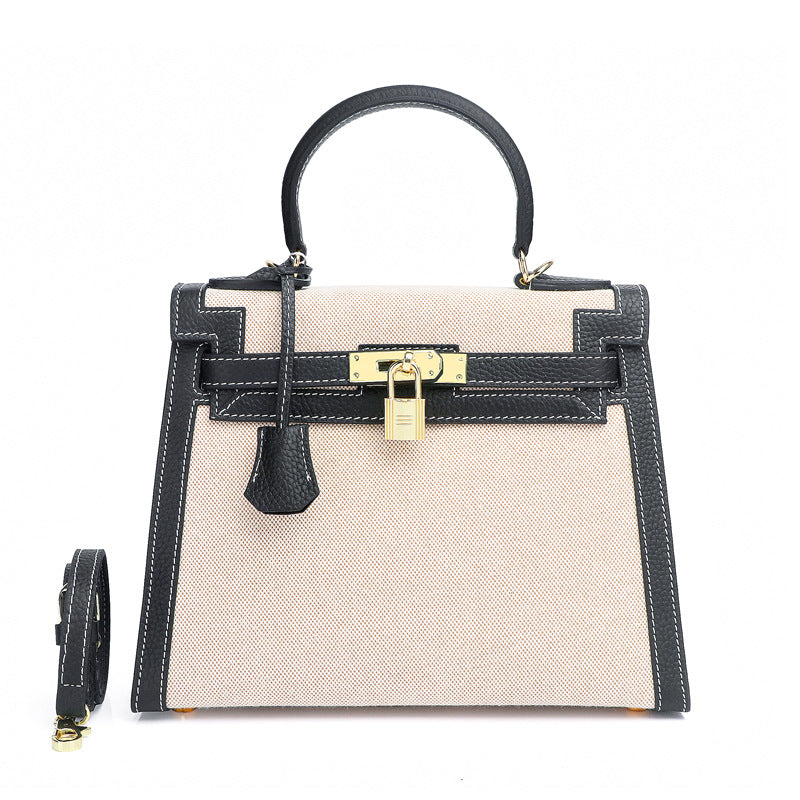 Ashley Canvas & Leather Padlock  Handbag - Gold Hardware 28cm