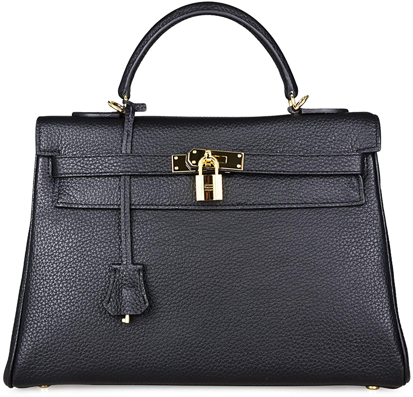 Ava Leather Padlock Handbag - Gold Hardware 32 cm