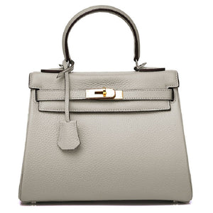 Ava Leather Padlock Handbag - Gold Hardware 25 cm