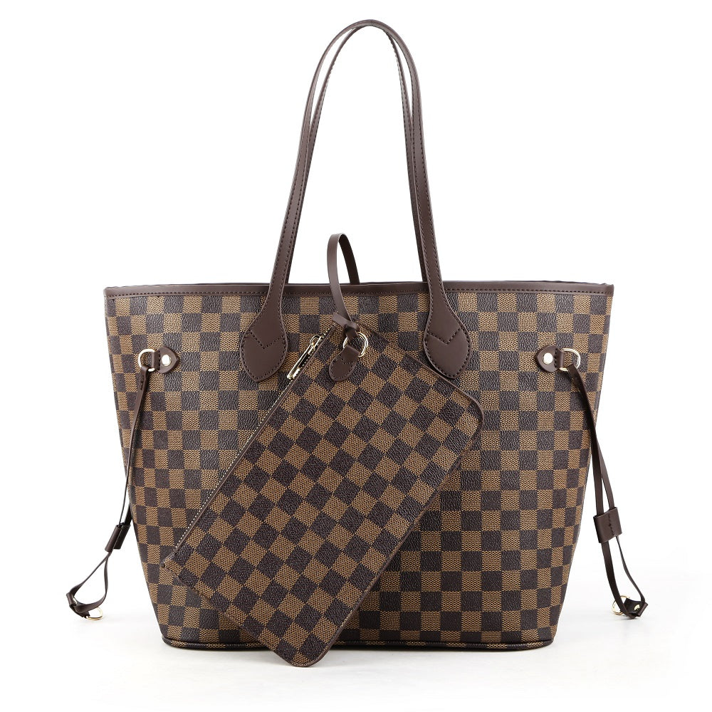 Crissy Checkered Totes with Wristlet Pochette