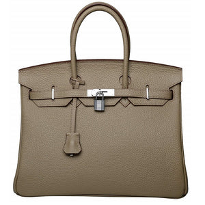 Erin Leather Padlock Handbag - Silver Hardware 30 cm