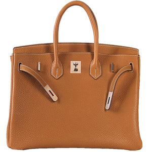 Erin Leather Padlock Handbag - Gold Hardware 25 cm