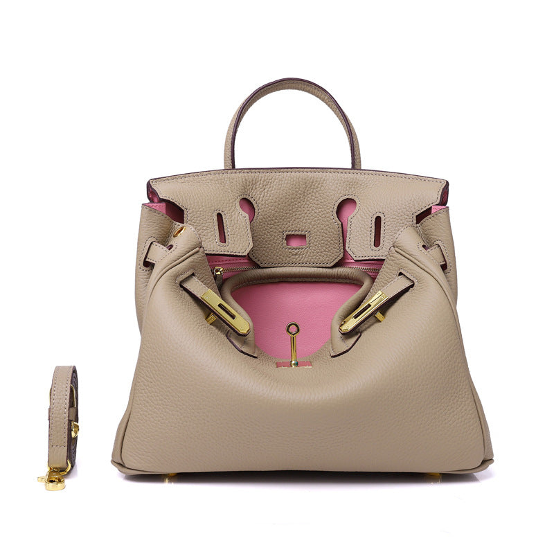 Erin Leather Padlock Handbag - Pink Interior - 30 cm