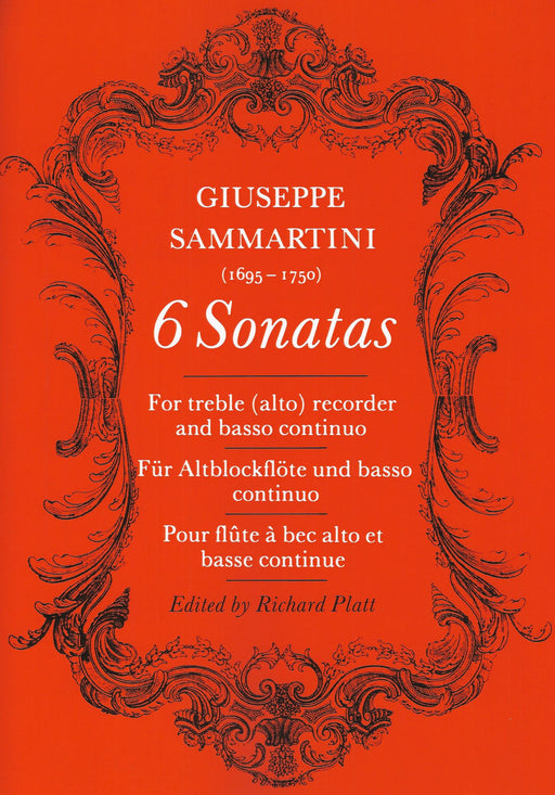 Sammartini: 6 Sonatas for Treble Recorder and Continuo