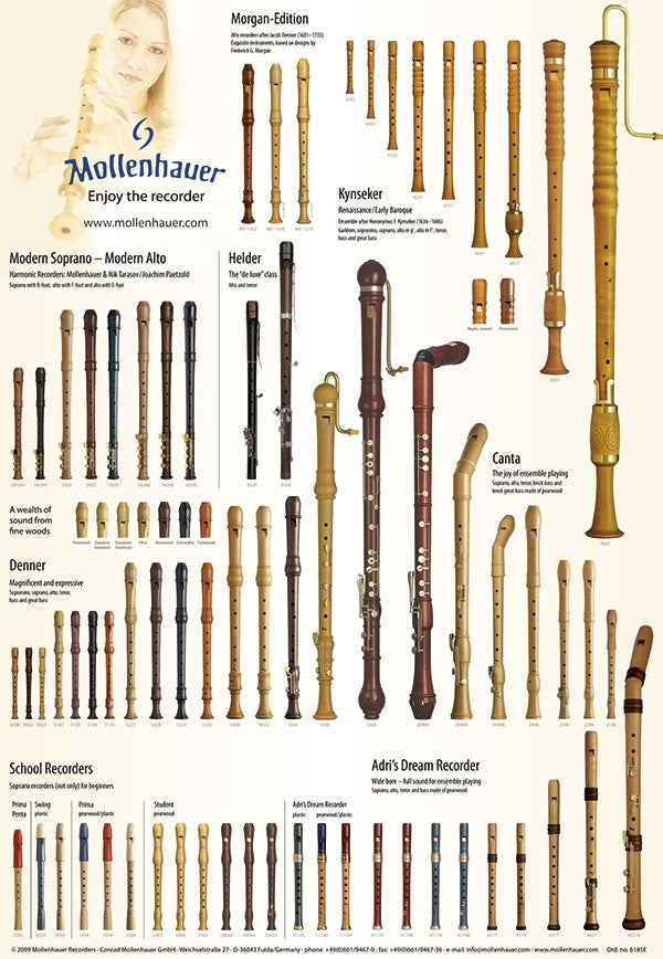 Parts of the Recorder Poster by Mollenhauer