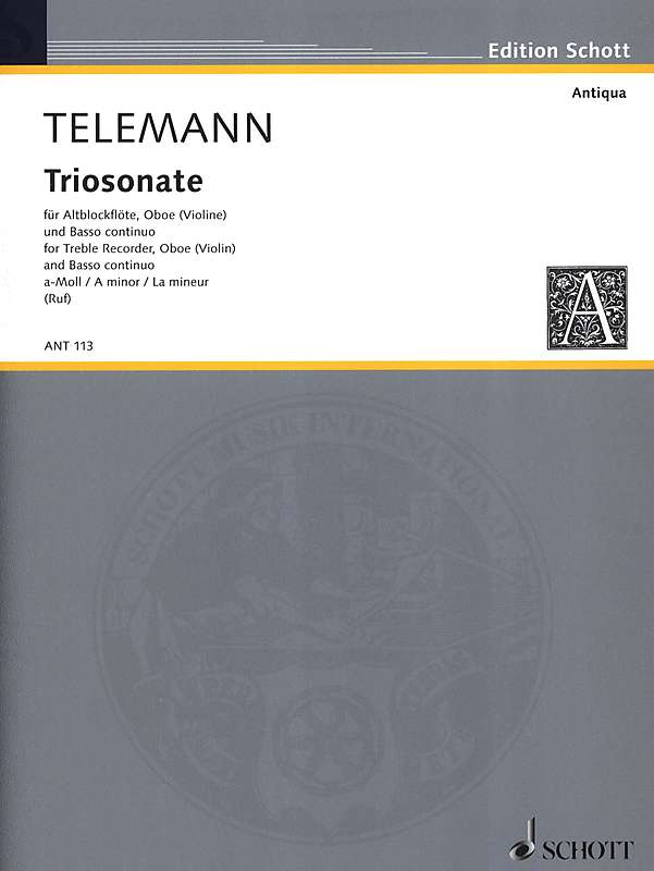 Telemann: Trio Sonata in A Minor for Treble Recorder, Oboe and Basso Continuo