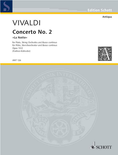 "Vivaldi: Concerto No. 2 in G Minor ""La Notte"" for Flute, Strings and Basso Continuo - Score"