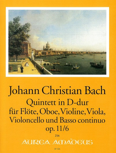 J. C. Bach: Quintet in D Major for Flute, Oboe, Violin, Viola, Violoncello and Basso Continuo Op.11/6