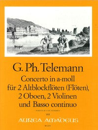 Telemann:  Concerto in A Minor for 2 Treble Recorders, 2 Oboes, 2 Violins and Basso Continuo