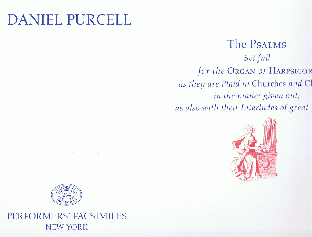 D. Purcell: Psalms set for the Organ or Harpsichord