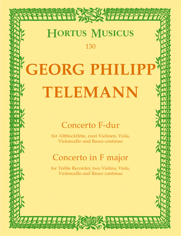Telemann: Concerto in F Major for Treble Recorder, Strings and Basso Continuo - Score