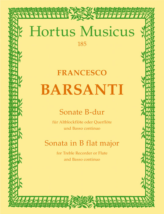 Barsanti: Sonata in B Flat Major for Treble Recorder and Basso Continuo