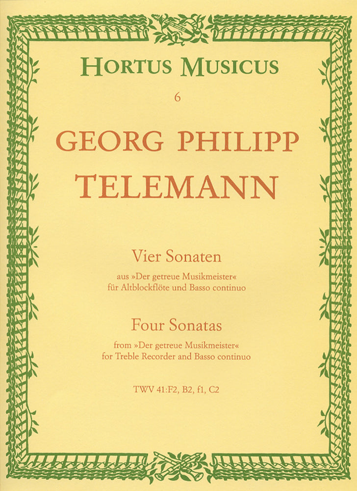 "Telemann: 4 Sonatas from ""Der getreue Musikmeister"" for Treble Recorder and Basso Continuo"