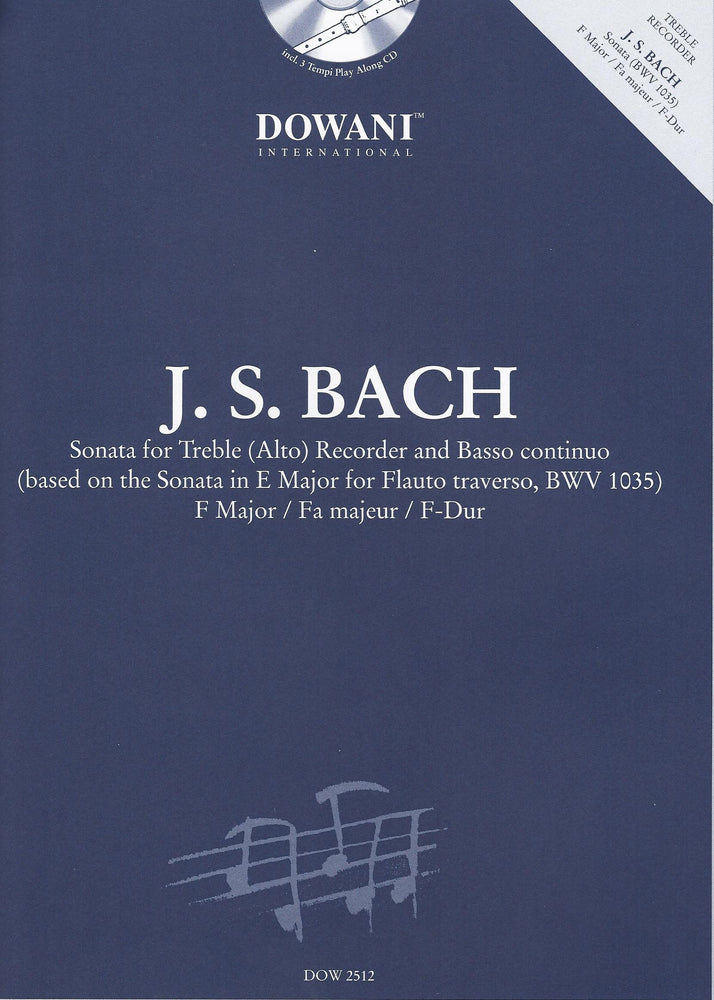 Bach: Sonata in F Major for Treble Recorder and Basso Continuo - with 3 Tempi Play Along CD