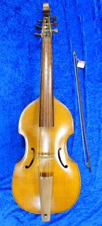 3994S Wolfgang Uebel 6 String Bass Viol with bow and semi-rigid case - in fair condition.
