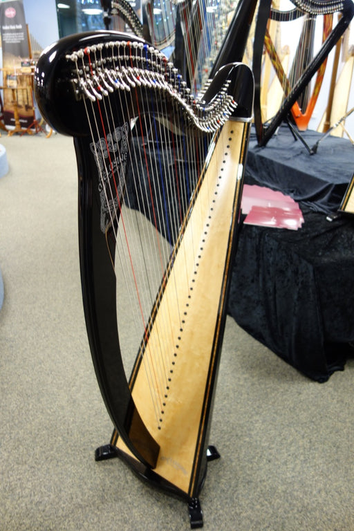 4018S  Camac Melusine de Concert Harp in Black, 38 Nylon Strings with metal levers and tuning key - with Camac Padded Bag