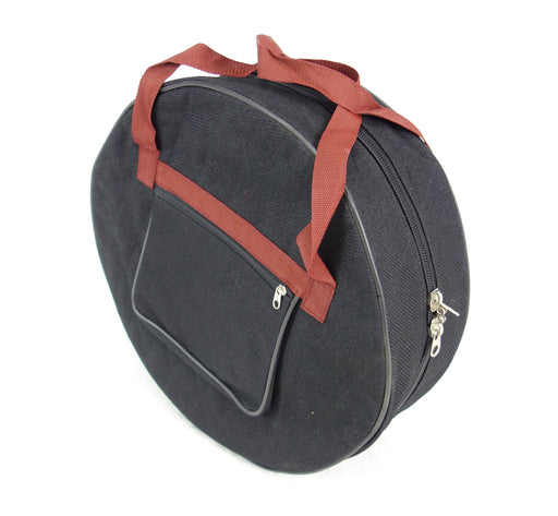 "EMS Bodhran Padded Bag for 18""Ø x 5"" Bodhrans - a black canvas bodhran bag with zipped pocket and carrying straps"