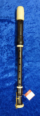 PO0038S Dolmetsch Alto Recorder in Grenadilla no. 23510 with decorative rings, bell key and in excellent condition - no case.