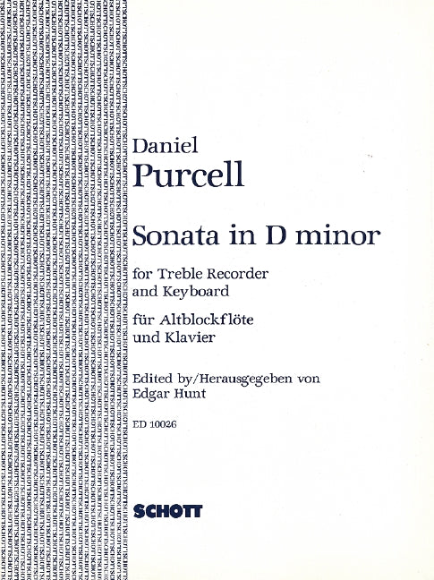 Purcell, Daniel: Sonata in d minor for Alto Recorder and Continuo