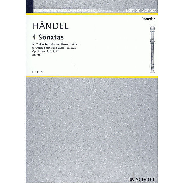 Handel: 4 Sonatas for Treble Recorder and Basso Continuo
