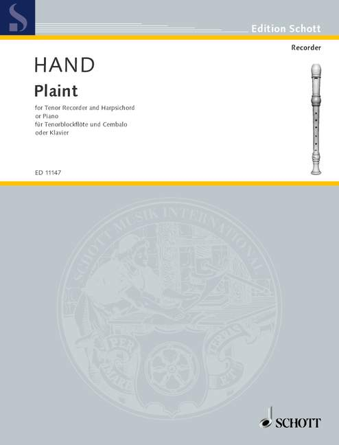 Hand: Plaint for Tenor Recorder and Harpsichord or Piano