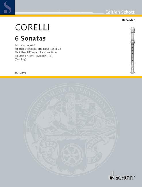 Corelli: 6 Sonatas for Treble Recorder and Basso Continuo, Op. 5, Vol. 1