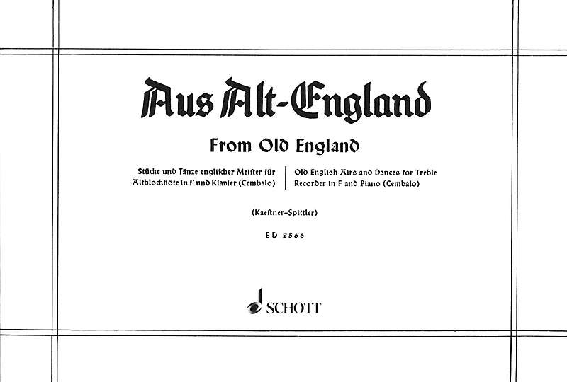 Various: From Old England - Pieces for Treble Recorder and Keyboard