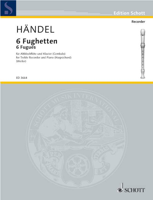 Handel: 6 Fugues for Treble Recorder and Keyboard