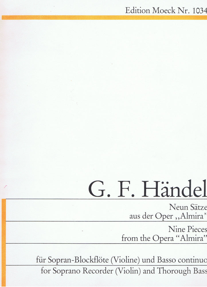 "Handel: 9 Pieces from the Opera ""Almira"" for Descant Recorder and Basso Continuo"