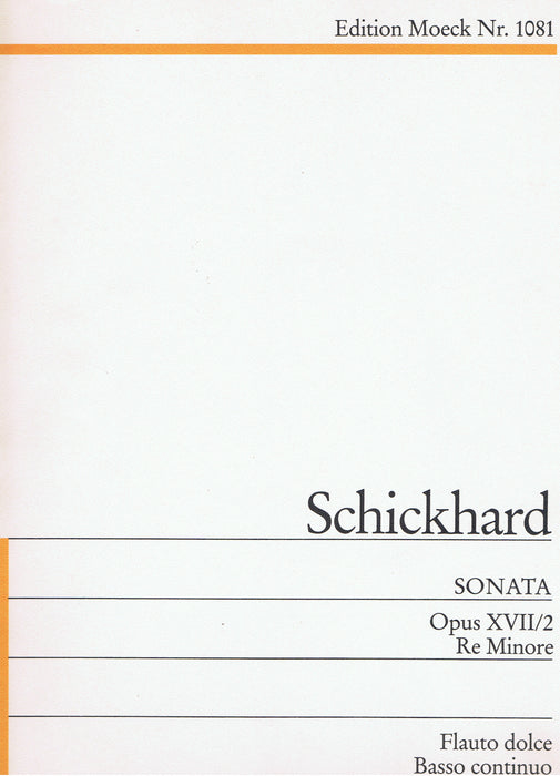 Schickhard: Sonata in D Minor for Treble Recorder and Basso Continuo