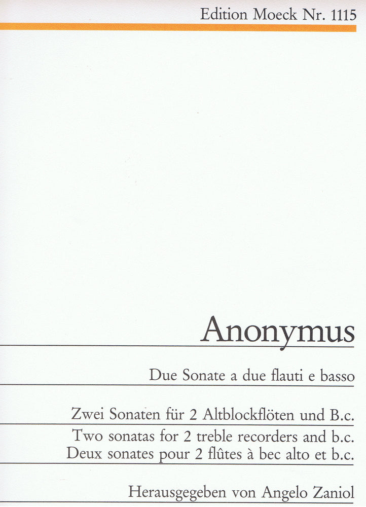Anonymous: 2 Sonatas for 2 Treble Recorders and Basso Continuo