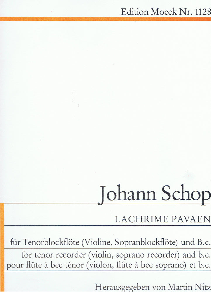 Schop: Lachrime Pavaen for Tenor Recorder and Basso Continuo