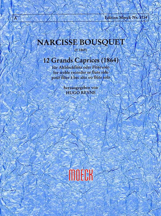 Bousquet: 12 Grands Caprices for Treble Recorder or Flute Solo