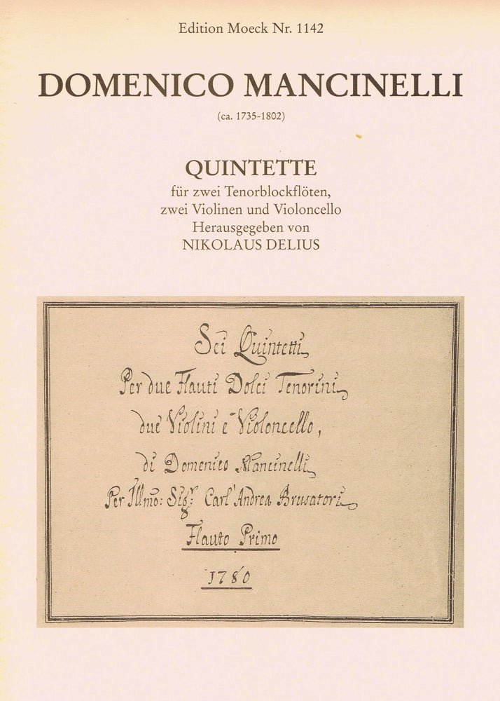 Mancinelli: Quintets for 2 Tenor Recorders, 2 Violins and Violoncello