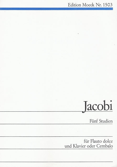 Jacobi: 5 Studies for Treble Recorder and Piano