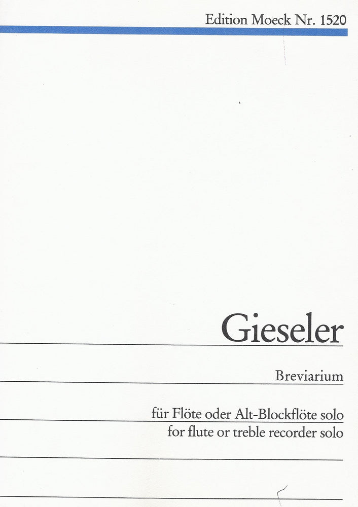 Gieseler: Breviarium for Flute or Treble Recorder Solo