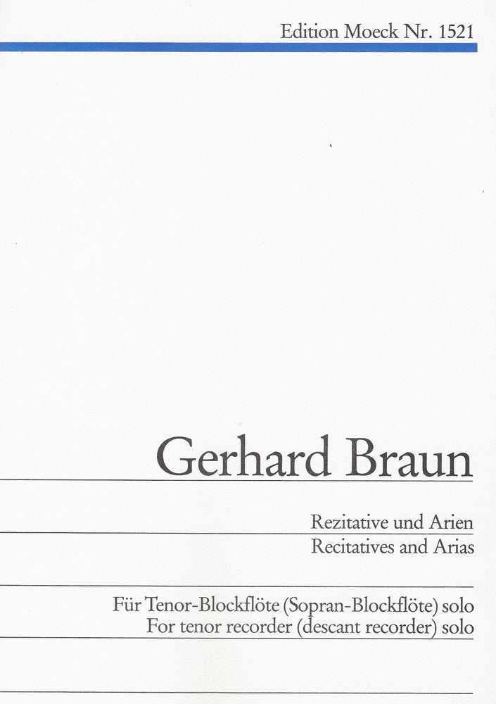 Braun: Recitatives and Arias for Tenor or Descant Recorder Solo