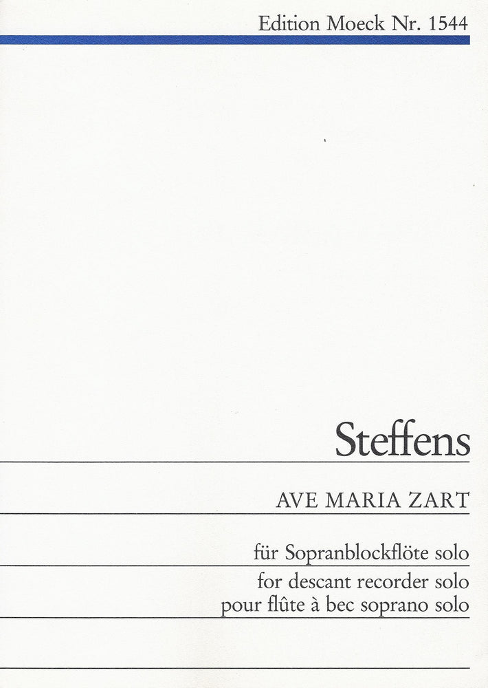 Steffens: Ave Maria Zart for Descant Recorder