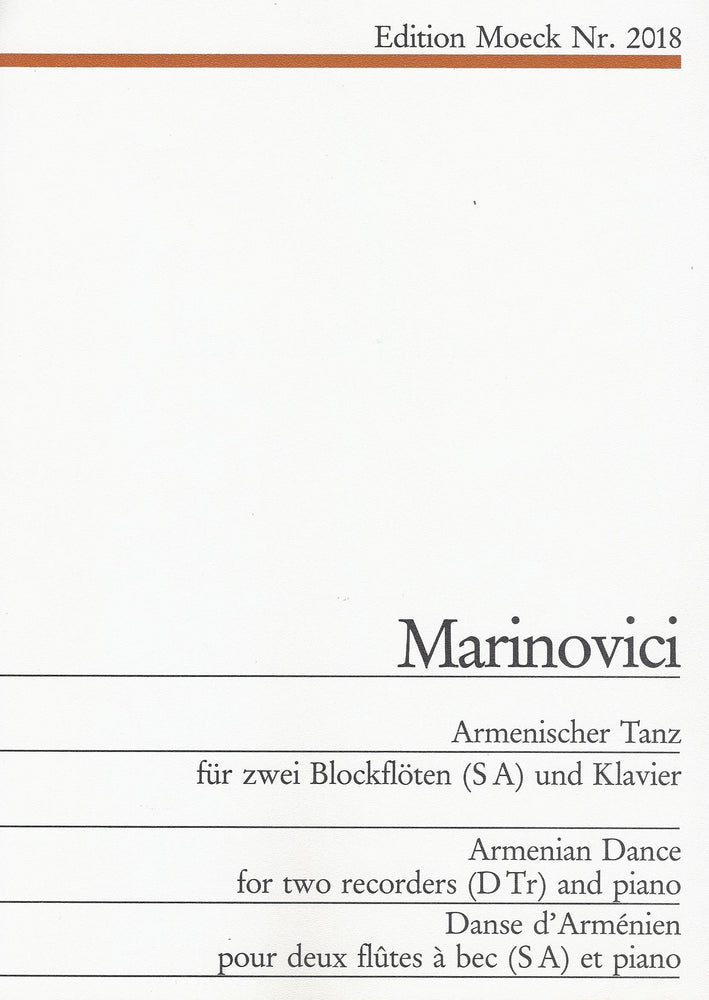 Marinovici: Armenian Dance for Soprano and Treble Recorders and Piano