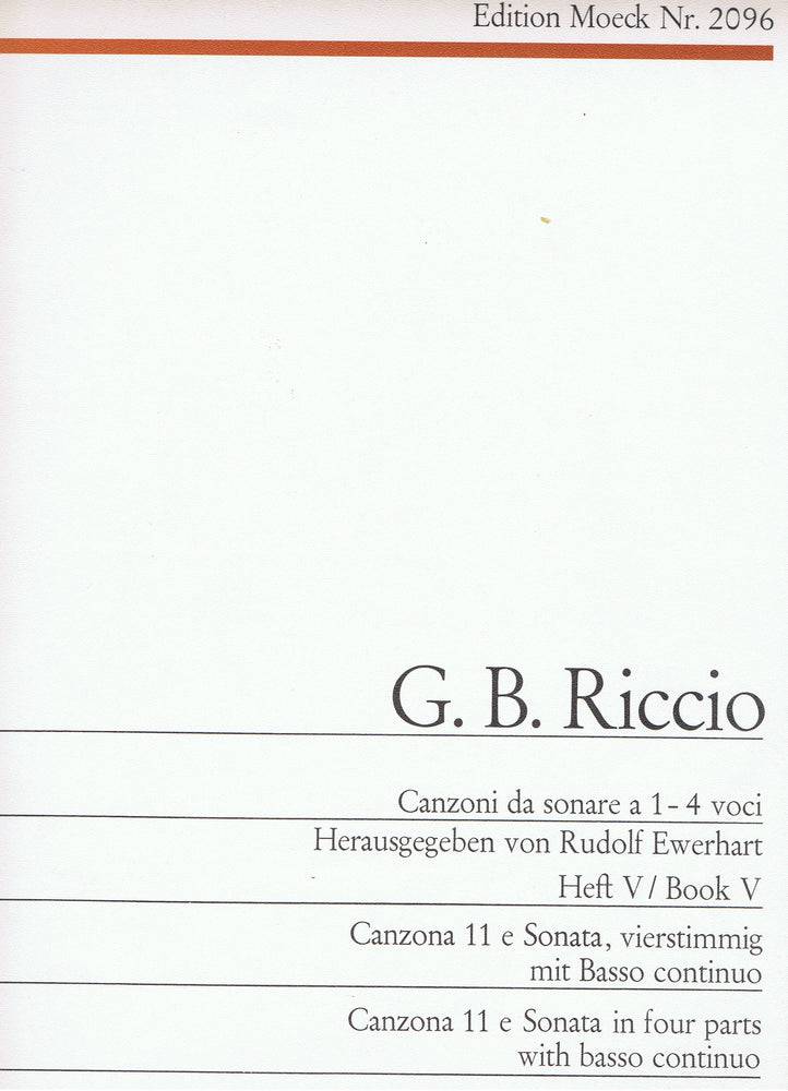 Riccio: Canzona No. 11 and Sonata for 4 Instruments and Basso Continuo