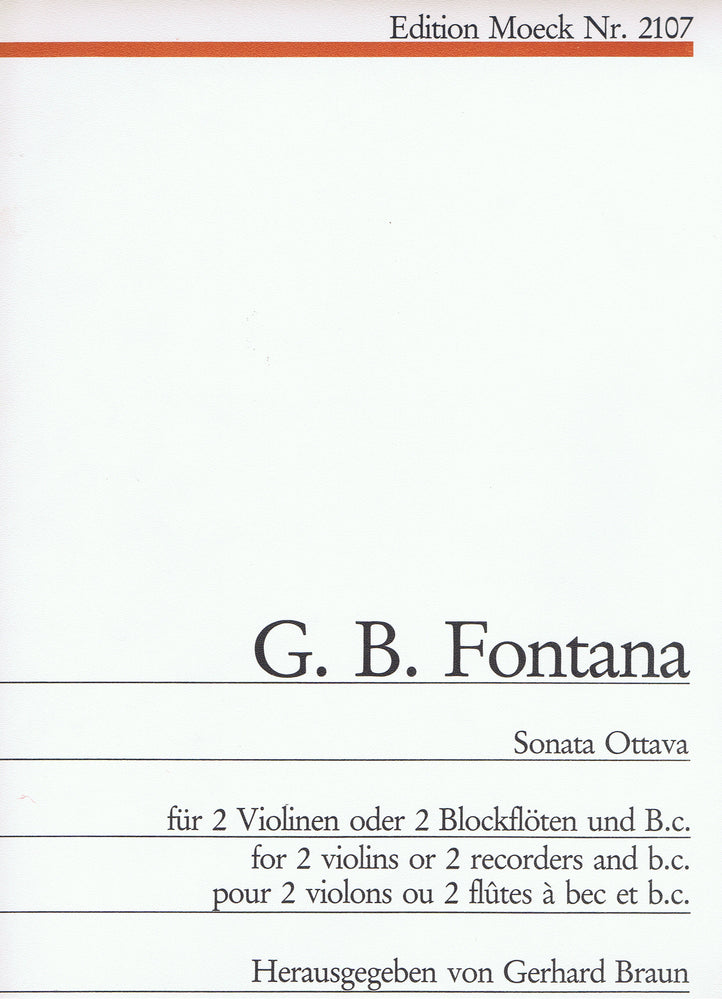Fontana: Sonata Ottava for 2 Violins or Recorders and Basso Continuo