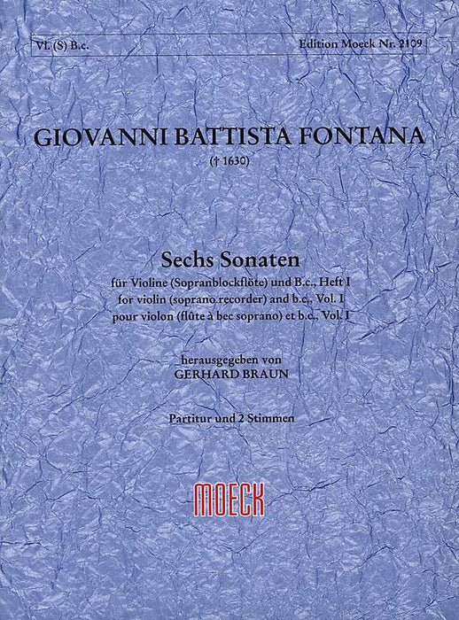 Fontana: 6 Sonatas for Violin and Basso Continuo, Vol. 1