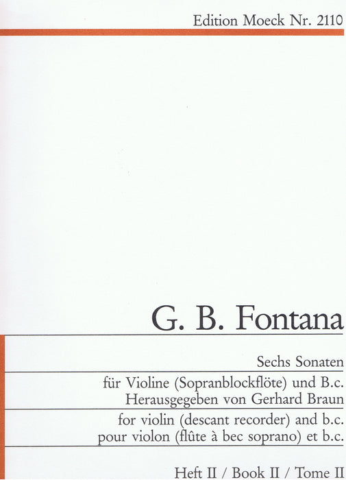Fontana: 6 Sonatas for Violin and Basso Continuo, Vol. 2