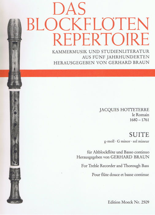 Hotteterre: Suite in G Minor for Treble Recorder and Basso Continuo