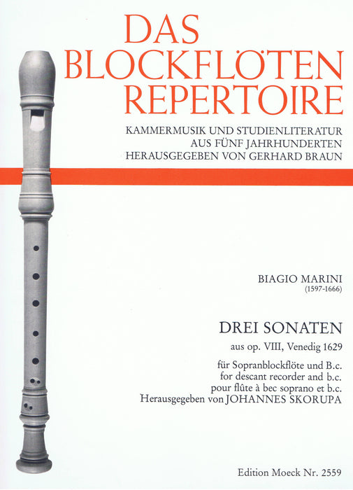 Marini: 3 Sonatas for Descant Recorder and Basso Continuo
