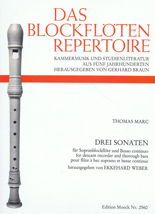 Marc: 3 Sonatas for Descant Recorder and Basso Continuo