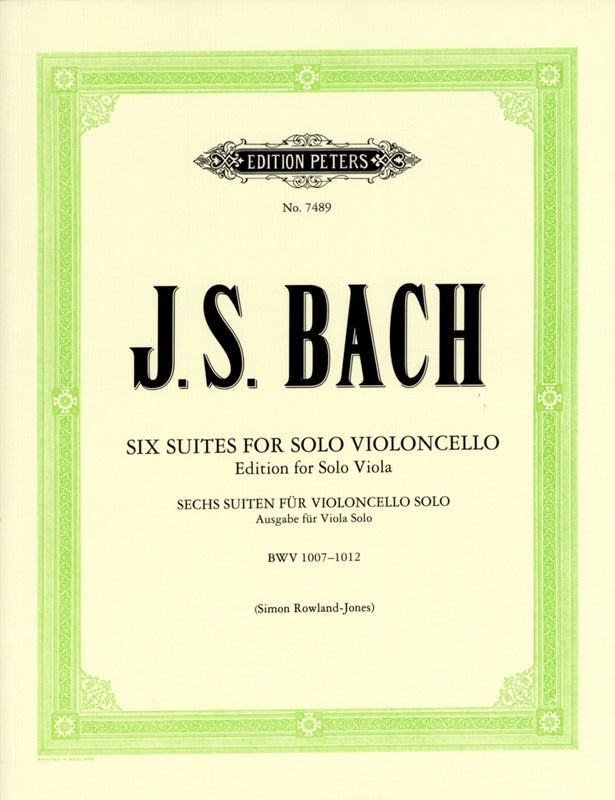 Bach: 6 Suites for Cello arranged for Viola
