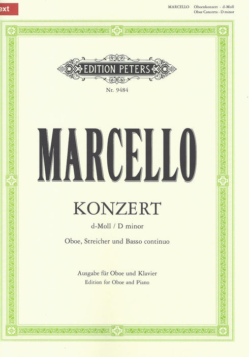 Marcello: Concerto in D Minor for Oboe- Piano Reduction
