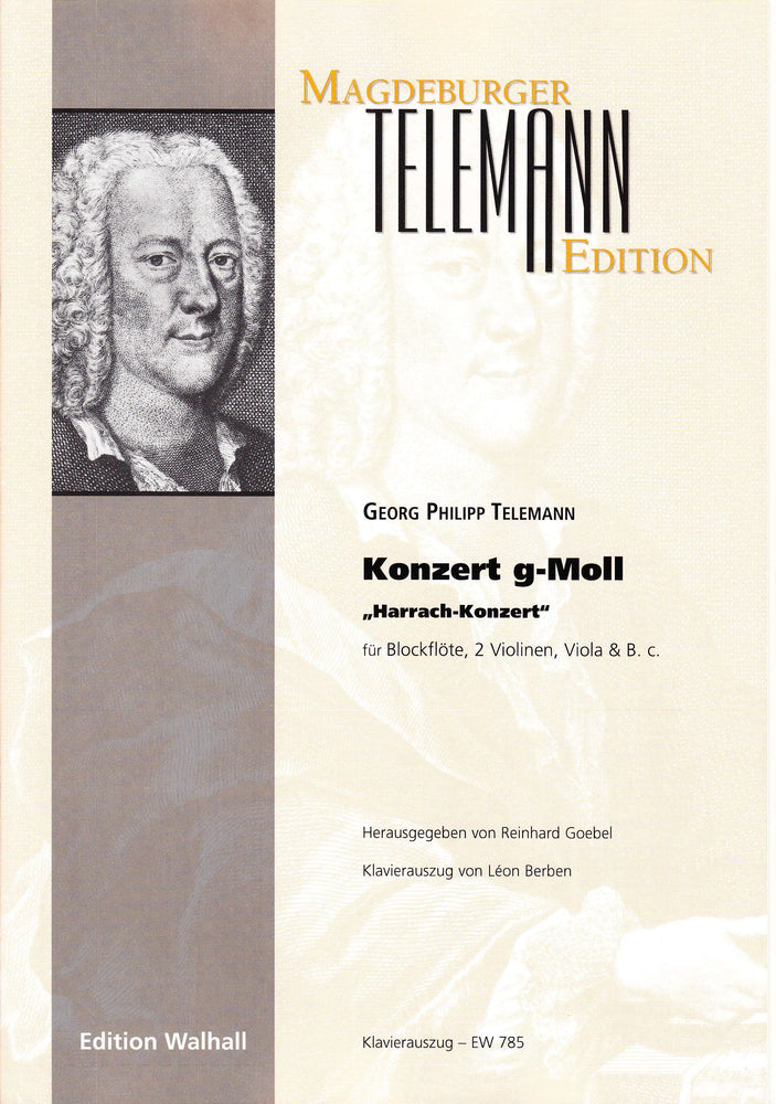 "Telemann: Concerto in G Minor ""Harrach Konzert"" for Treble Recorder, Strings and Basso Continuo - Piano Reduction"