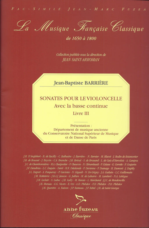 Barriere: Sonatas for Violoncello and Basso Continuo, Livre III